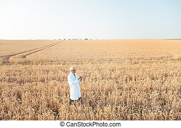 Agriculture scientist doing research in grain test field tracking data