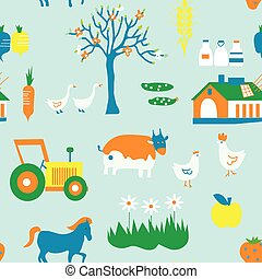 Agriculture seamless pattern with trees, animals and house