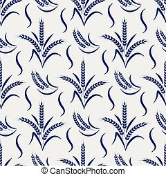 Agriculture seamless pattern with wheat branches