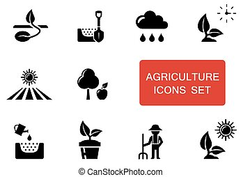 agriculture set with red accent