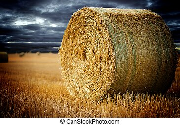 Agriculture - straw bale on a field with beautiful dark sky
