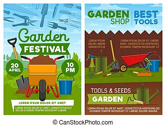 Agriculture tools shop and garden festival, vector -...