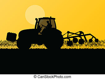 Agriculture tractor cultivating the land in cultivated country grain field landscape background illustration vector