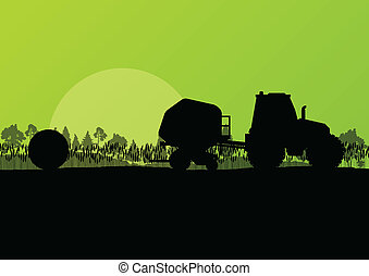 Agriculture tractor making hay bales in cultivated ...