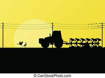 Agriculture tractor plowing land in cultivated country...