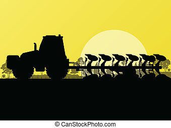 Agriculture tractor plowing land in cultivated country fields landscape background illustration vector