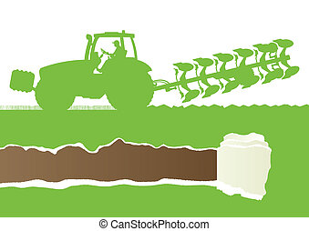 Agriculture tractor plowing the land in cultivated country grain