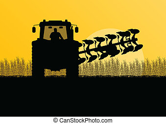 Agriculture tractor plowing the land in cultivated country grain field landscape background illustration vector