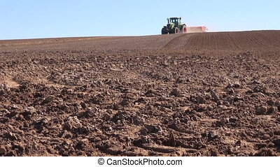Agriculture tractor sowing seeds - Agriculture tractor with...