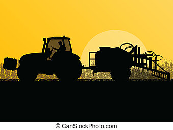 Agriculture tractor spraying pesticides in cultivated country grain field landscape background illustration vector