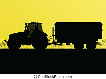 Agriculture tractor with corn trailer in cultivated country grain field landscape background illustration vector