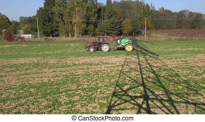 agriculture tractor with spray tool