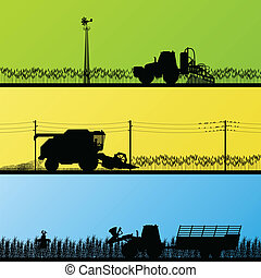 Agriculture tractors and harvesters in cultivated country fields landscape background illustration vector