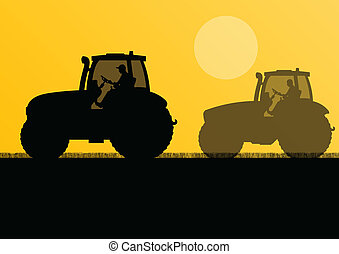 Agriculture tractors in cultivated country field landscape background illustration vector