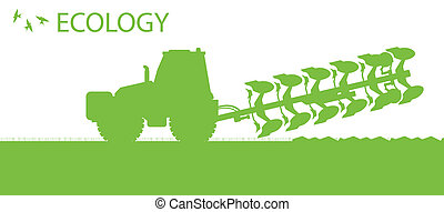 Agriculture tractors plowing the land in cultivated country fields ecology vector concept