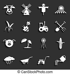agriculture, vecteur, agriculture, icons., illustration