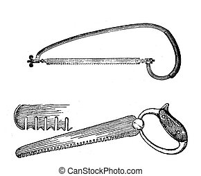 Agriculture vintage illustration, saw for wood and saw teeth shape