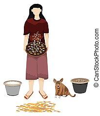 agriculturist winnow rice by threshing basket vector design
