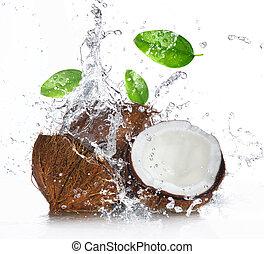 agrietado, coco, con, salpicar el agua
