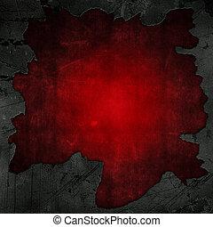 agrietado, concreto, y, grunge rojo, plano de fondo