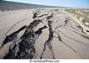agrietado, después, terremoto, camino