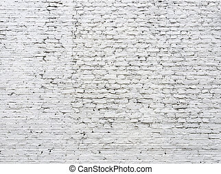 agrietado, ladrillo, pared blanca