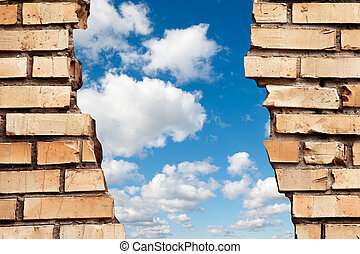 agrietado, pared ladrillo, a, cielo azul, collage