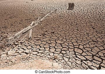 agrietado, seco, tierra, sin, agua