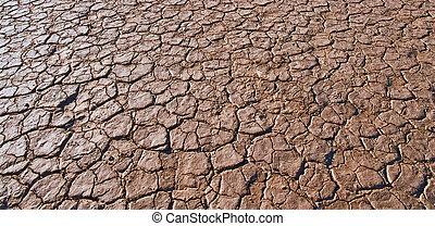 agrietado, y, árido, barro, suelo, seco, sin, agua