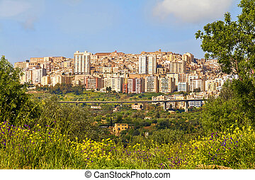 Agrigento, Sicily, Italy - View of the city of Agrigento...