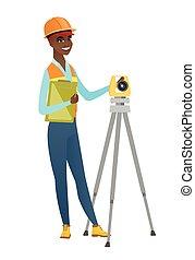 agrimensor, construtor, theodolite., trabalhando, africano