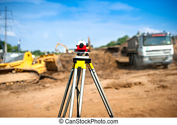 agrimensor, equipamento, óptico, nível, ou, theodolite, em, construção