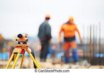 agrimensor, equipamento, construção, local, nível