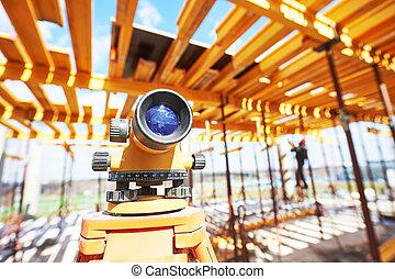 agrimensor, equipamento, em, local construção