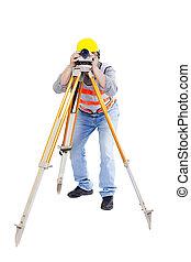 agrimensor, trabalhador, fazer, medida, e, isolado, branco