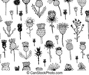 Agrimony plants seamless pattern, sketch for your design....