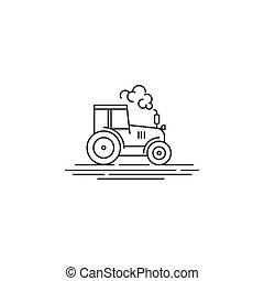 agrimotor, linear, ícone, fazenda, esboço, linha, isolado,...