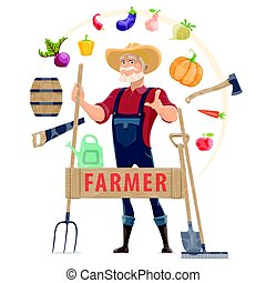 agronomist, concepto, redondo, elementos
