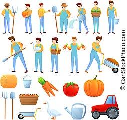 Agronomist icons set, cartoon style