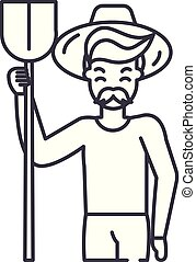 agronomist, lineal, ilustración, concept., símbolo, vector, línea, señal, icono