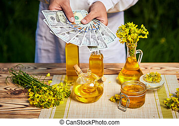 Agronomist man or farmer holding money dollar banknote with blossoming cultivated canola field and rapeseed oil in background