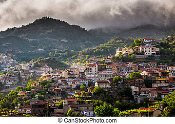 Agros village on top of the Troodos Mountains. Limassol District, Cyprus