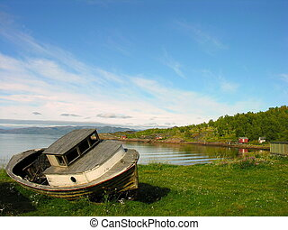 Aground Boat in Lofoten - Aground ruined fishing Boat in...