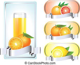 agrume, etichette, vettore, frutte