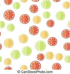 agrume, pattern., seamless, affettato, frutta, fondo, bianco