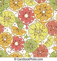 agrume, vettore, seamless, fondo, frutte