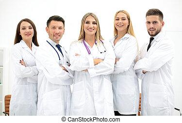 agrupe retrato, de, um, profissional, equipe médica
