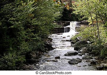 agua, adirondack, otoño