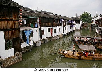 agua, aldea, en, china