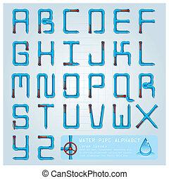 agua, alfabeto, carácter, tubo, diseño, plantilla
